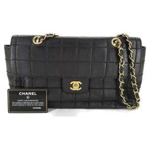 100% Auth CHANEL Lambskin Flap Black Shoulder Bag
